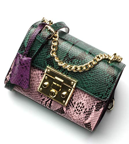 Snake Handbag Pink - Women Genuine Leather Sling Bag Snakeskin Pattern Cross Body Contrast Color Shoulder Bag for Girls Cute Bags for Summer (PinkGreen)