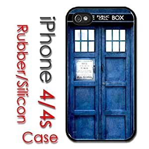 iPhone 4 4S Rubber Silicone Case - Dr Who Tardis Blue Phone Booth Police Box