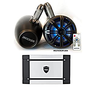 Kicker Marine Wake Tower System w/Charcoal 6.5 LED Speakers, LED Remote and Wet Sounds HT-4 400 Watt Marine Amp