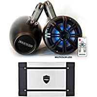 "Kicker Marine Wake Tower System w/ Charcoal 6.5"" LED Speakers, LED Remote and Wet Sounds HT-4 400 Watt Marine Amp"