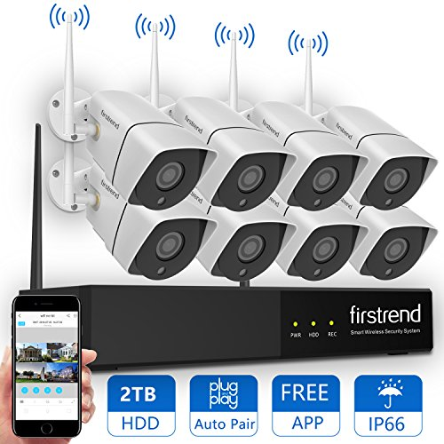 Price comparison product image [2018 Newest] Wireless Security Camera System,  Firstrend 8CH 960P Wireless NVR System With 8pcs 1.3MP HD Security Cameras and 2TB Hard Drive Pre-installed,  P2P Wifi Home Security System