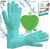 Magic Silicone Dishwashing Scrub Gloves | with Small Silicon Soft Hand Washing Brush Sponge Scrubber for Scrubbing, Rubber Glove for Cleaning,Home,Dish Wash,Dishes,Kitchen,Pet