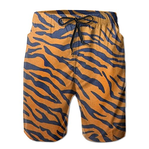 Men's Quick Dry Tiger Print Animal Print Cool Beach Shorts Swim Trunks Beach Board Shorts (Tiger Print Shorts)