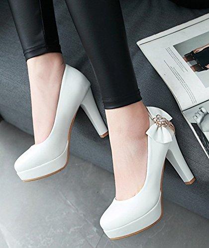 Aisun Donna Elegante Dressy Low Cut Strass Tacco Alto Tacco Alto Punta Rotonda Slip On Pompe Pompe Con Fiocco Bianco