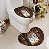 L-QN 2 Piece Anti-Slip Toilet mat Collection Illustration Antique Myst Gate Oriental Islamic Pattern Curvings Artistic Anti-Slip Water Absorption