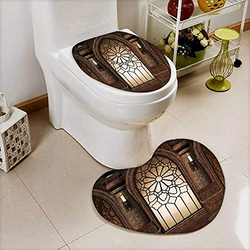 L-QN 2 Piece Anti-Slip Toilet mat Collection Illustration Antique Myst Gate Oriental Islamic Pattern Curvings Artistic Anti-Slip Water Absorption by L-QN