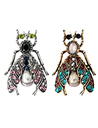 Fityle 2Pcs Vintage Bee Brooch Jewelry Insect Antique Siver Gold Lapel Pin Broach