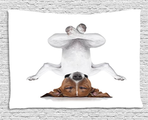 Ambesonne Yoga Tapestry, Dog Upside Down Relaxing with Closed Eyes Doing Yoga Calm Therapy Humor Animal Print, Wide Wall Hanging for Bedroom Living Room Dorm, 60