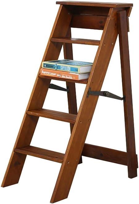 Escalera Plegable de Madera de 5 Pasos - Escalera 5 Pasos peldaños Ligero portátil para niños Adultos - Multiusos para el baño en casa: Amazon.es: Hogar