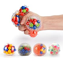Fansteck DNA Stress Ball, [4 Pack] Squeeze Ball / Stress Relief Ball for Kids and Adults, Sensory Rubber Ball, Ideal for Autism, Anxiety & More (4 Different Balls)