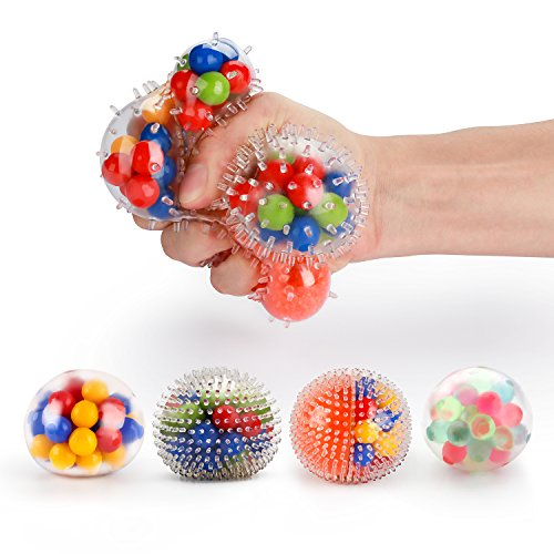 Fansteck Stress Ball, [4 Pack] Squeeze Ball / Stress Relief Ball for Kids and Adults, Sensory Rubber Ball, Rainbow LED Stress Ball, Ideal for Autism, Anxiety & More (4 Different Balls) (4 Pack)