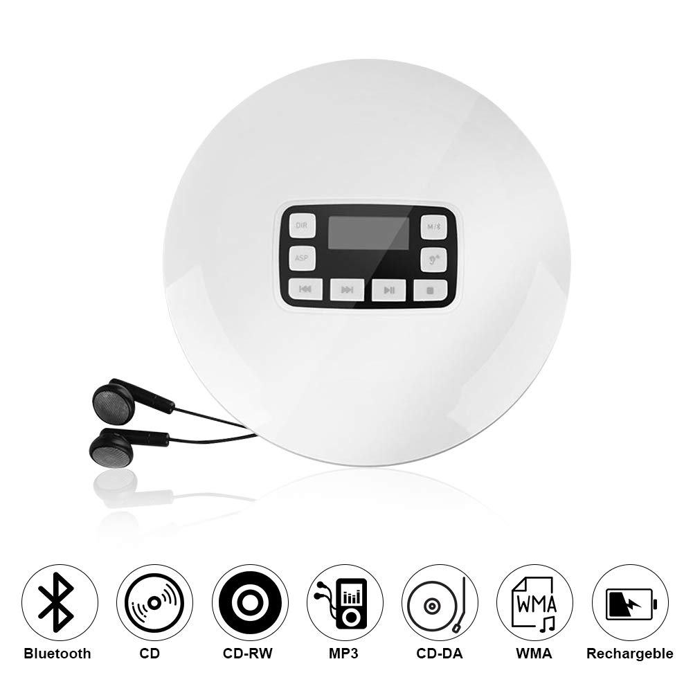 Portable CD Player, HOTT Shockproof Wireless Bluetooth Personal Compact Disc Player Rechargeble HiFi Stereo CD Walkman Music Player with Earphones for Home Office School(White)