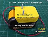 D12 Power Dock for DeWalt DCB12x Battery, wired 16AWG, PN# D12-PD, 17.98 shipped