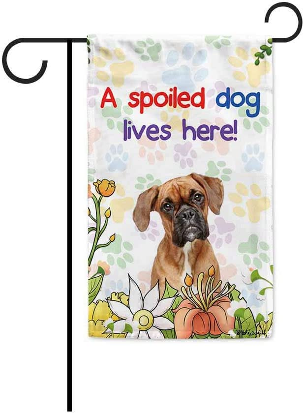 BAGEYOU A Spoiled Dog Lives Here Flowers Spring Summer Garden Flag Boxer Paw Print Home Decor Banner for Outside 12.5 X 18 Inch Printed Double Sided