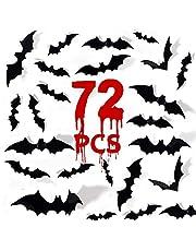 Bats Halloween Decoration 3D Bats Decorations 4 Different Sizes Wall Bat Decor for Wall Decals DIY Halloween Bathroom Decor Indoor Bats Sticker Wall Stickers(72PCS)