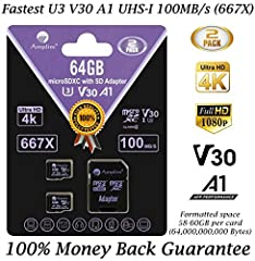 ULTRA FAST U3 V10 A1 UHS-1 CLASS10 - Up to 667X turbo card for Coolpix EOS Mark IV Rebel Vixia HF Legria HDR Handycam Alpha HC HDC Lumix DMC OM-D E-PL7 JVC GZ Everio FZ F90 Hero5 Hero4 Theta s Cam Session Bandit Garmin VIRB Elite Tough TG-Tra...