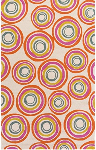 Diva At Home 4' x 6' Spiral Falling Daze Sand Brown and Flame Orange Hand Hooked Area Throw Rug