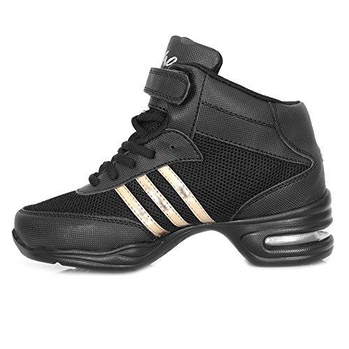 Fitness Jazz Hop Noir Chaussure Chaussure Danse Walking Mesh Femme Modèle or HROYL Gym B61 de Sport de Lacet Respirant Danse Sneaker Hip T7xwqa