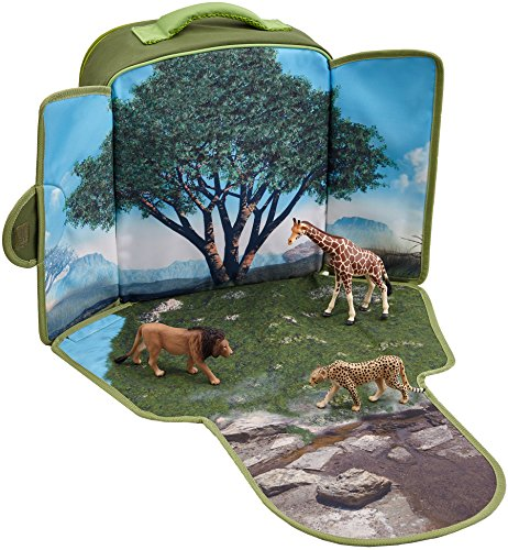 (MOJO Wildlife Animal Childs Backpack Zoo Playset with Lion, Giraffe and Cheetah Figurines)