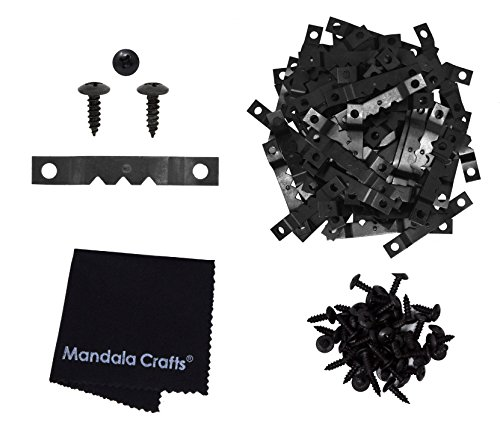 Mandala Crafts Bulk Sawtooth Hangers Hooks for Frame Picture Hanging with Screws (Small, Black 100 PCs)