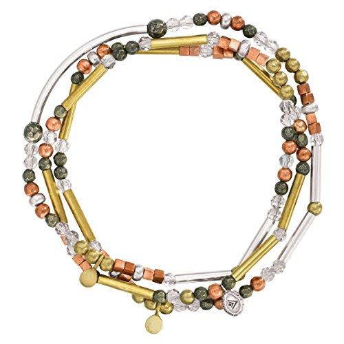 (Silpada 'Spice' Sterling Silver, Brass, Copper, Crystal, and Pyrite Multi-Purpose Bead Bracelet, 28.5