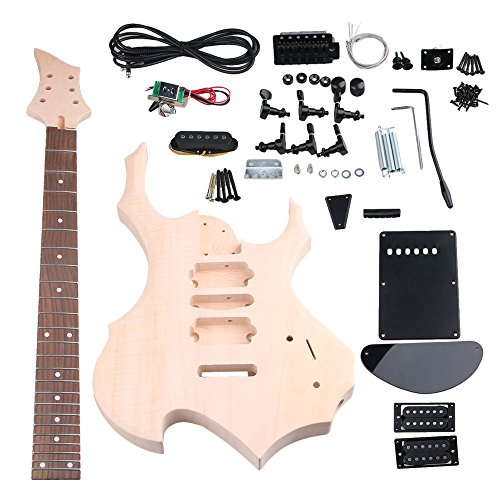 Mxfans 24F DIY Unfinished HSH Electric Guitar Builder Kit With All Parts