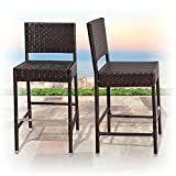 BenefitUSA Outdoor Wicker BarStool Patio Furniture All Weather Dining Chairs Bar Stool, Dark Coffee (2)