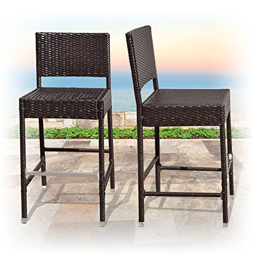 BenefitUSA Outdoor Wicker BarStool Patio Furniture All Weather Dining Chairs Bar Stool, Dark Coffee (Height All Weather Wicker)