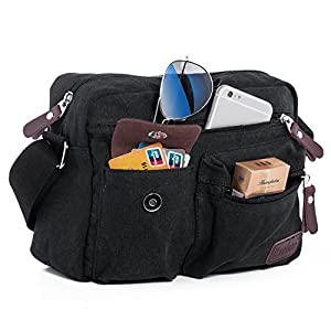 Small Shoulder Bag Cross-body Messenger Bags Satchel Handbag Everyday Bags Retro Canvas Casual Travel Bag Men's Purse Multi-pocket Pack Organizer Working Bags Outdoor Sports Gear Climbing Hiking Black
