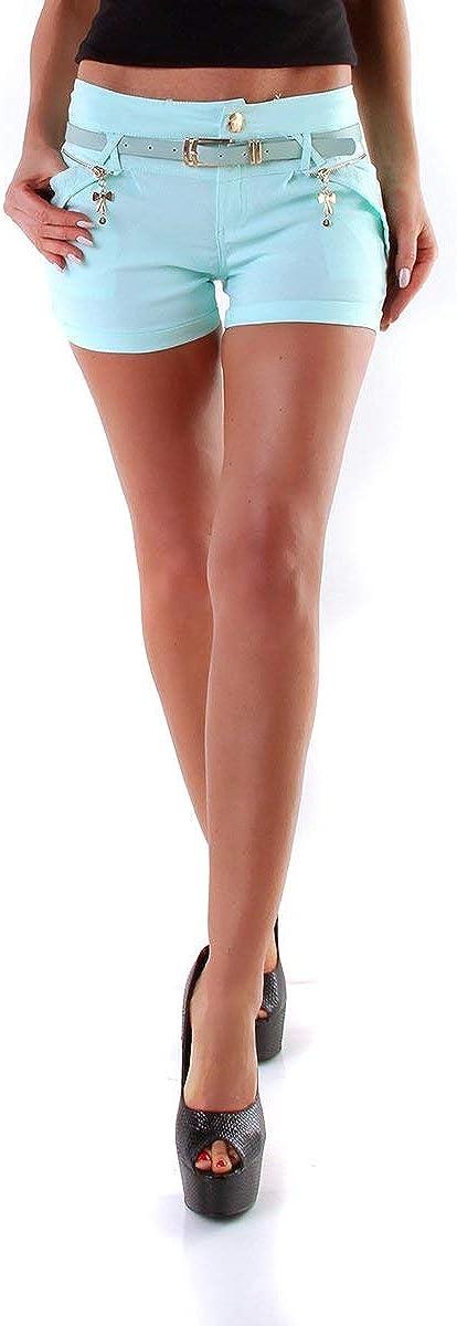 OSAB-Fashion 310339 Damen Hotpants Chino-Shorts Kurze Stretch Hose Panty Hot Pants G/ürtel