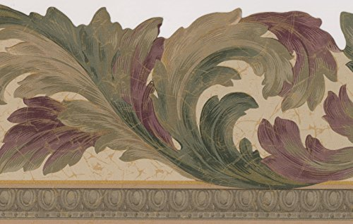 Green Purple Vines Beige Floral Wallpaper Border Retro Design, Roll 15' x 7''