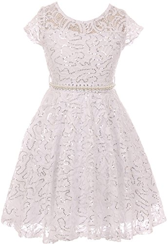 Little Girl Cap Sleeve Floral Lace Glitter Pearl Holiday Party Flower Girl Dress White 6 JKS 2102