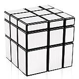 D-FantiX Shengshou Mirror Cube 3x3 Speed Cube 3x3x3 Mirror Blocks Unequal Puzzle Silver Black 57mm
