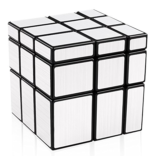 (D-FantiX Shengshou Mirror Cube 3x3 Speed Cube 3x3x3 Mirror Blocks Unequal Puzzle Silver Black 57mm)