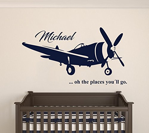 (Custom Name Transportation Theme - Airplane in the Sky for my Baby - Baby Boy / Girl - Wall Decal Nursery For Home Bedroom Children (AM) (Wide 40