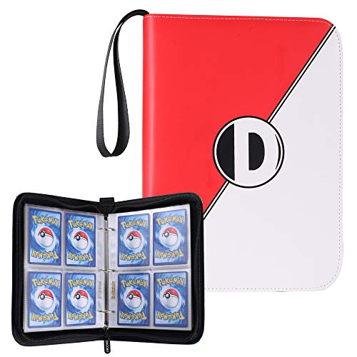 D DACCKIT Carrying Case Binder Compatible with Pokemon Card, Holds Up to 400 Cards - Trading Cards Collectors Album with 50 Premium 4-Pocket Pages (Red White) (Pokemon Trading Card Box)