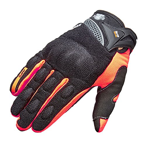 Wonzone Motorcycle Riding Cycling Full Finger Gloves Outdoor Sports Men Summer Spring Bicycle Powersports Motorbike Touch Screen Gloves (Orange, Large)