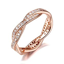 Sterling Silver Rose Gold-Plated Engagement Rings