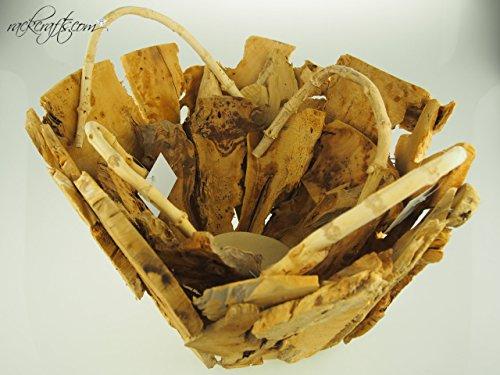 rackcrafts.com Decorative Wooden Baskets - 15.5'' Chipped Wood (2 pc set) Wedding Garden Flower Girl Basket by rackcrafts.com (Image #2)