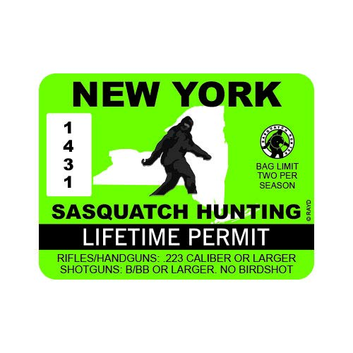 "RDW New York Sasquatch Hunting Permit - Color Sticker - Decal - Die Cut - Size: 4.00"" x 3.00"""