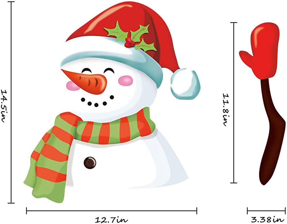 Meitinalife Christmas Snowman Waving Wiper Decal for Rear Window 3D Cartoon Festive Car Sticker Vinyl Decal for Vehicle Rear Wipers Xmas Decoration