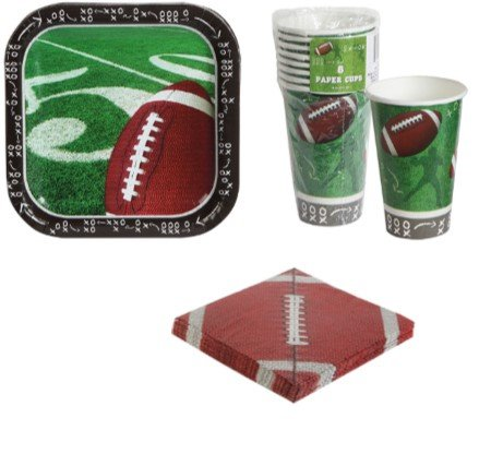 Football Tablecloth Paper Cups Plates Party Supplies Supply Trays NFL Sports Superbowl Game Day Tailgate Set of 3 (Games Day Christmas Nfl)