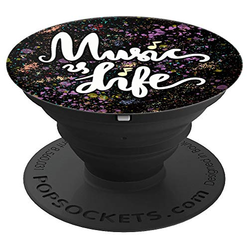 Music is Life, Mobile Phone Grip/Holder for Music Lovers - PopSockets Grip and Stand for Phones and Tablets