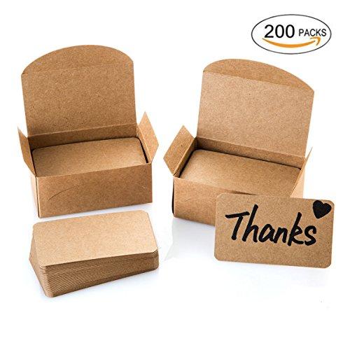 Blank Cardboard Card Message Card Business Card Word Gift Card Various DIY Creative Card 200PCS (Kraft (Shop Stamp)
