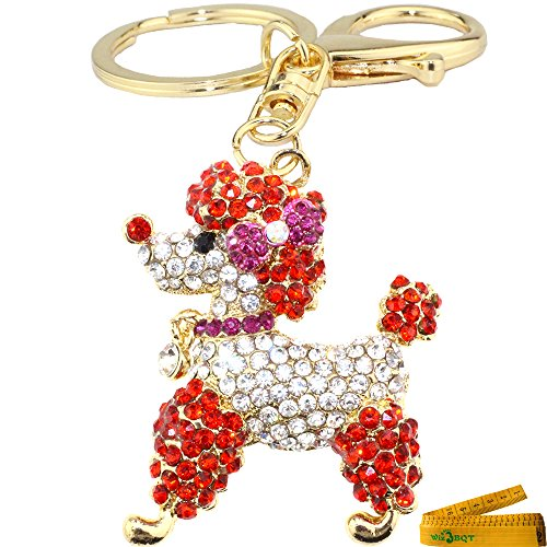 Lovely Sparking Poodle Figure Keychain Charming 3D Bling Diamante Crystal Rhinestone Alloy Metal Key Ring Purse Bag Cell Phone Ornament Pendant Gift (Red Poodle (Red Poodle)