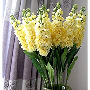 "Sksyeen 6PCS Stems 32"" Artificial Antirrhinum Snapdragon Silk Hyacinth Flowers (Yellow) 6"