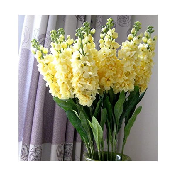 Sksyeen 6PCS Stems 32″ Artificial Antirrhinum Snapdragon Silk Hyacinth Flowers (Yellow)