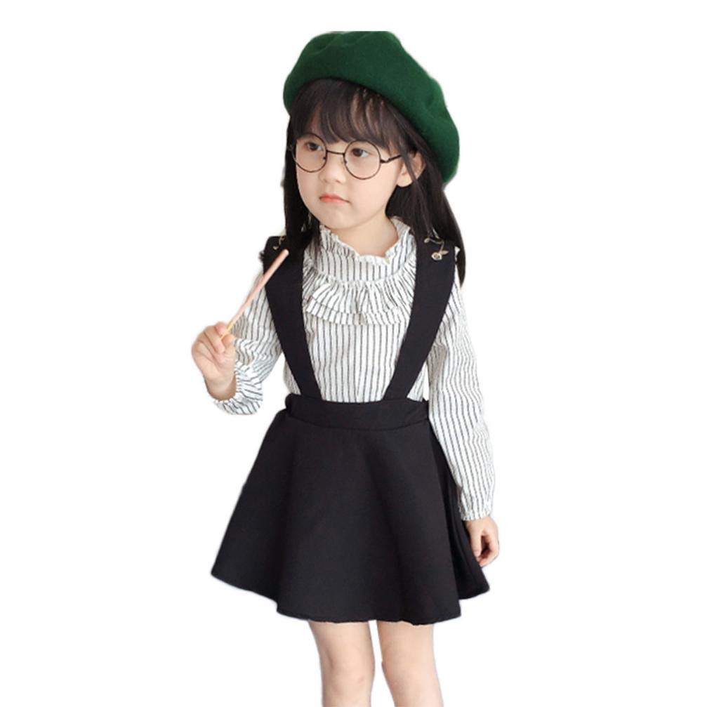KaiCran Little Girls Outfits Clothes Long Sleeve Ruffled Stripe T-Shirt Embroidered Strap Skirt Fashion Clothing Sets