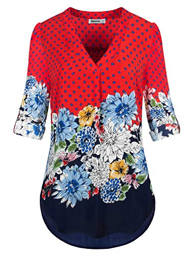 Rhoizma Fancy Tops, Womens Tab Sleeve Chiffon Blouse V Neck Aesthetic Floral Printed Thin Pleat Relax Fitted Basic Tunic Shirts for Business Office Wear,Oranged ()