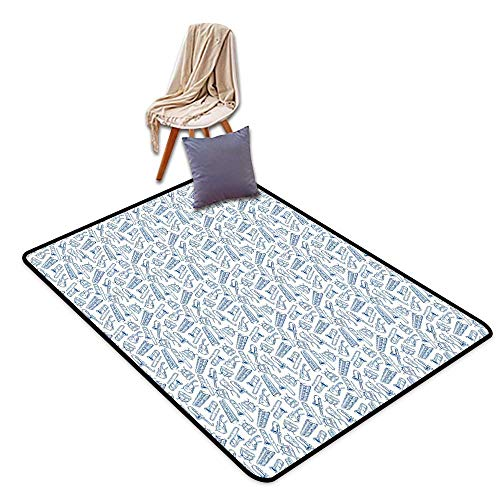 - Large Outdoor Indoor Rubber Doormat Jazz Music Pattern of Blue Sketchy Saxophones Trombones Timpani Drums Cellos Synthesizers W5'xL6' Suitable for Family